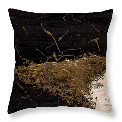 Hair Gold Woman Face Eyes Softness Throw Pillow featuring the mixed media Woman With Beautiful Hair by Veronica Jackson