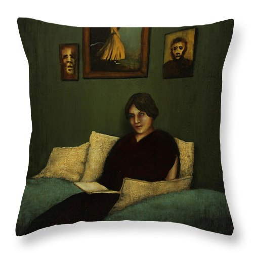 Book Throw Pillow featuring the painting Woman With Book by Szabo Gyula