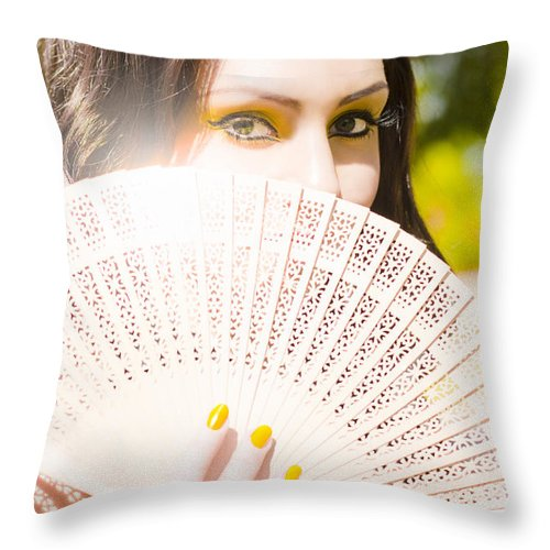 Attractive Throw Pillow featuring the photograph Woman With Fan by Jorgo Photography - Wall Art Gallery
