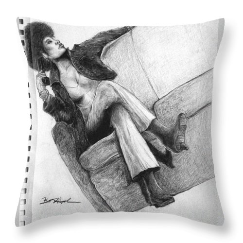 Seated Woman Throw Pillow featuring the drawing Woman With Gun By Kyle Anderson by Joyce Owens