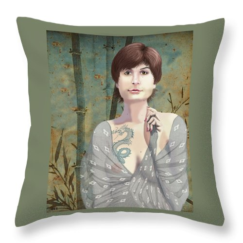 Illustration Throw Pillow featuring the digital art Woman With Tattoo by Lois Boyce