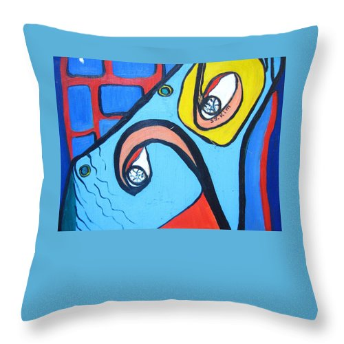 Woman Paintings Throw Pillow featuring the painting Woman13 by Seon-Jeong Kim