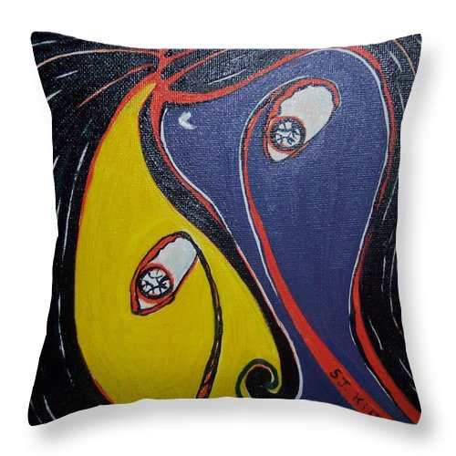 Yellow Paintings Throw Pillow featuring the painting Woman21 by Seon-Jeong Kim