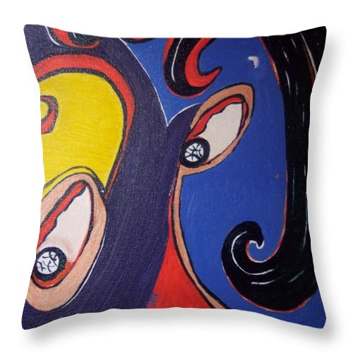 Abstract Paintings Throw Pillow featuring the painting Woman30 by Seon-Jeong Kim