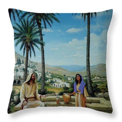 Jesus Throw Pillow featuring the painting Women At The Well by Michael Nowak