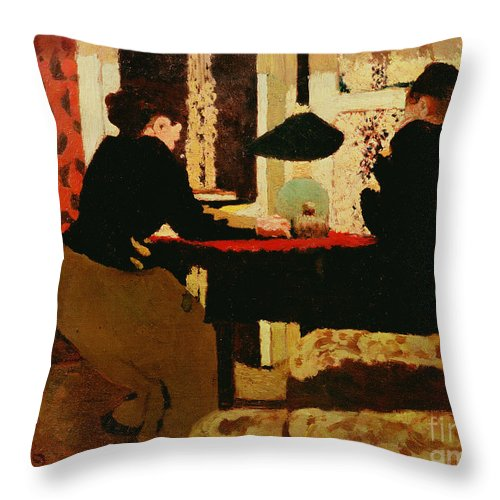 Women Throw Pillow featuring the painting Women By Lamplight by vVuillard