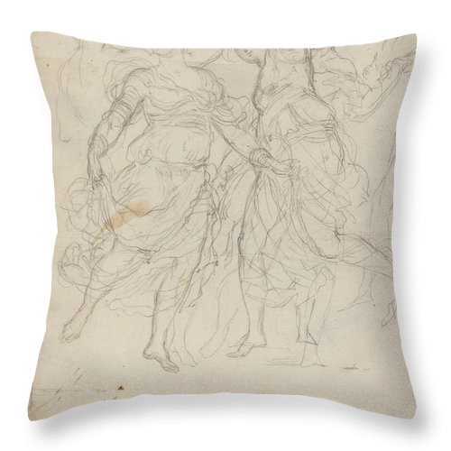 Throw Pillow featuring the drawing Women Dancing by Pietro Fancelli