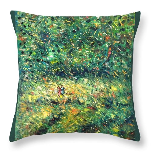 Landscape Impressionist Style Throw Pillow featuring the painting Women Going To Work by Utpal Biswas