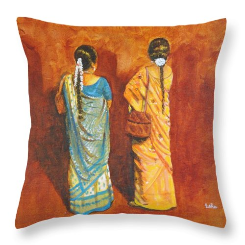 Women Throw Pillow featuring the painting Women In Sarees by Usha Shantharam