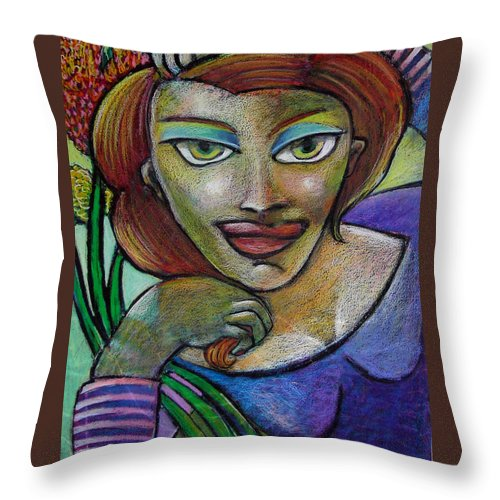 Women Throw Pillow featuring the painting Women Reclining by Angelina Marino