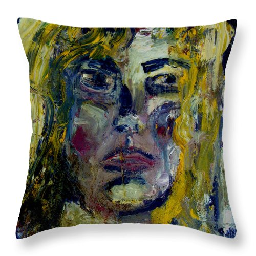 Woman Painting Throw Pillow featuring the painting Women Thinking by Angelina Marino