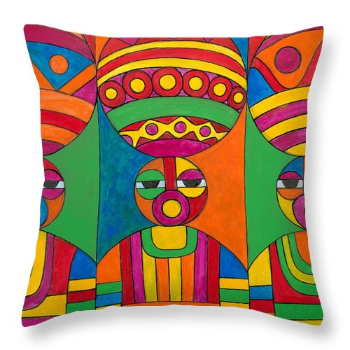 Abstract Throw Pillow featuring the painting Women With Calabashes by Emeka Okoro
