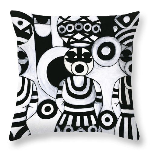 Cubism Throw Pillow featuring the painting Women with calabashes III by Emeka Okoro