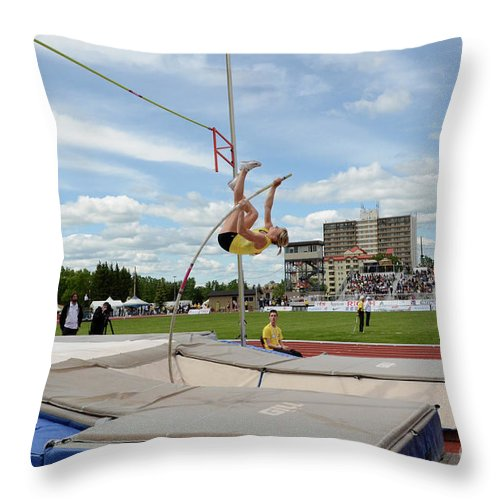 Canadian Track And Field National Championships 2011 Throw Pillow featuring the photograph Womens Pole Vault 2 by Bob Christopher