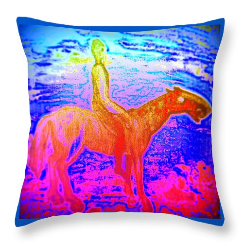 Home Throw Pillow featuring the painting Wonder Where We Are And How We Got There by Hilde Widerberg