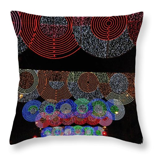 Outdoor Throw Pillow featuring the photograph Wonderful And Spectacular Christmas Lighting Decoration In Madrid, Spain by Akshay Thaker