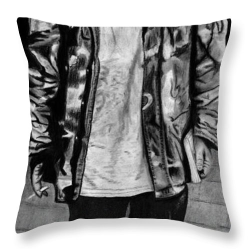 Wondering Soldier Throw Pillow featuring the drawing Wondering Soldier by Peter Piatt