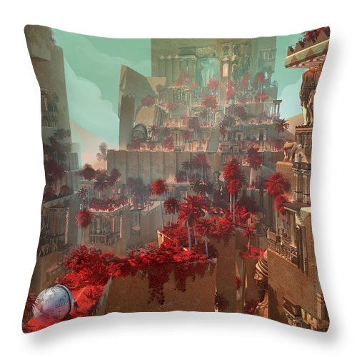 Landscape Throw Pillow featuring the digital art Wonders Hanging Garden Of Babylon by Te Hu