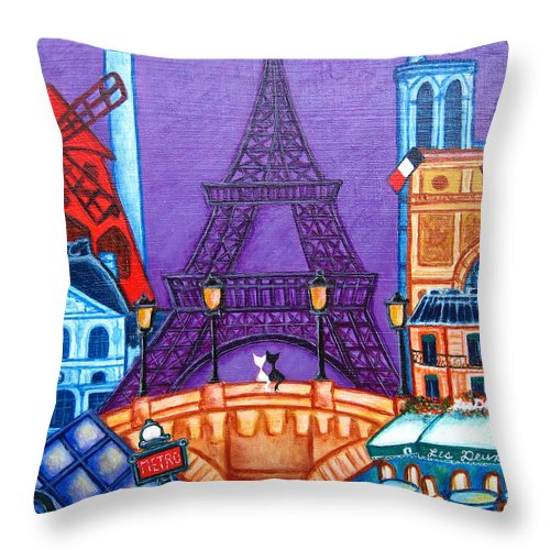 Paris Throw Pillow featuring the painting Wonders of Paris by Lisa Lorenz