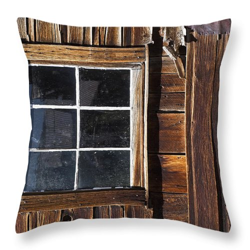 Bodie Ghost Town Throw Pillow featuring the photograph Wood And Window by Kelley King