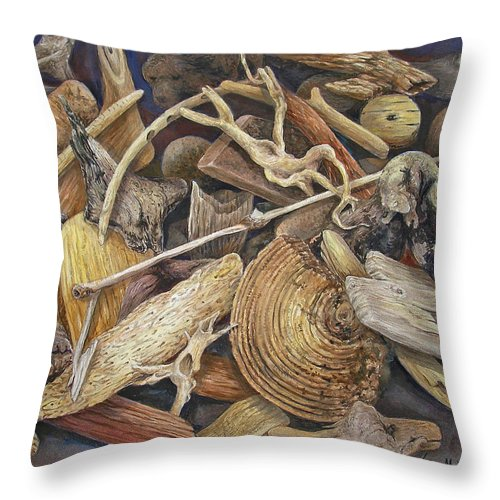 Driftwood Throw Pillow featuring the painting Wood Creatures by Valerie Meotti
