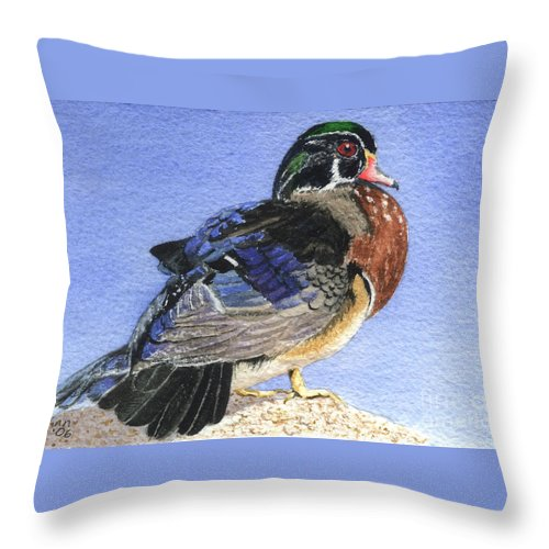 Duck Throw Pillow featuring the painting Wood Duck by Lynn Quinn