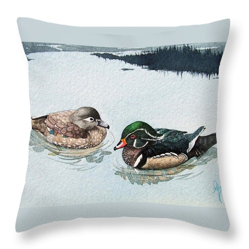 Ducks Throw Pillow featuring the painting Wood Ducks by Gale Cochran-Smith