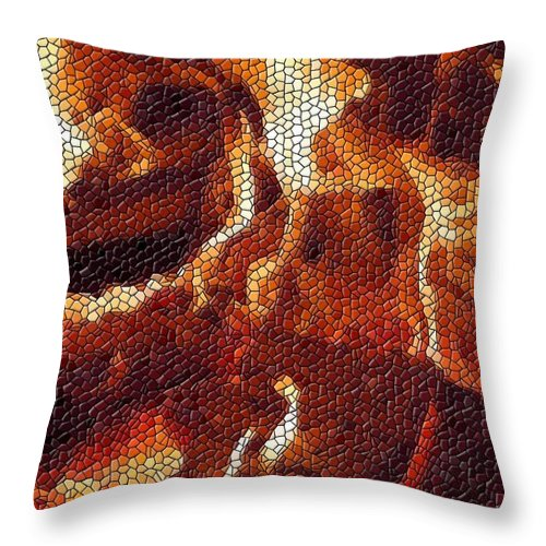 Wood Throw Pillow featuring the digital art Wood Fire Mosaic by Tim Allen