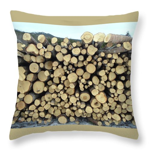 Wood Pile Throw Pillow featuring the photograph Wood Pile by Barbara Griffin