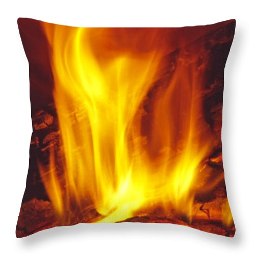 Fire Throw Pillow featuring the photograph Wood Stove - Blazing Log Fire by Steve Ohlsen