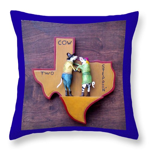 Texas Throw Pillow featuring the sculpture Woodcrafted 2 COW STEPPIN' by Michael Pasko