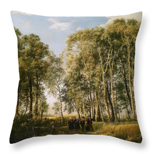 Painting Throw Pillow featuring the painting Wooded Landscape With A Group Of Figures In Costume by Mountain Dreams
