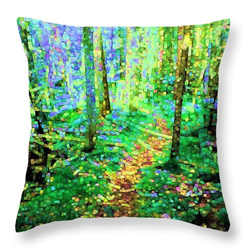 Nature Throw Pillow featuring the digital art Wooded Trail by Dave Martsolf