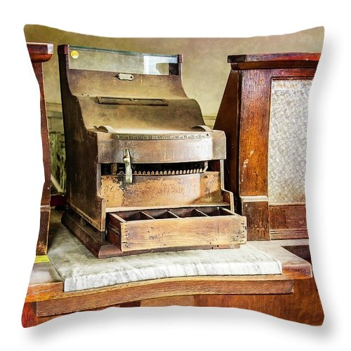 Wood Throw Pillow featuring the photograph Wooden Bank Cash Register by Betty Denise