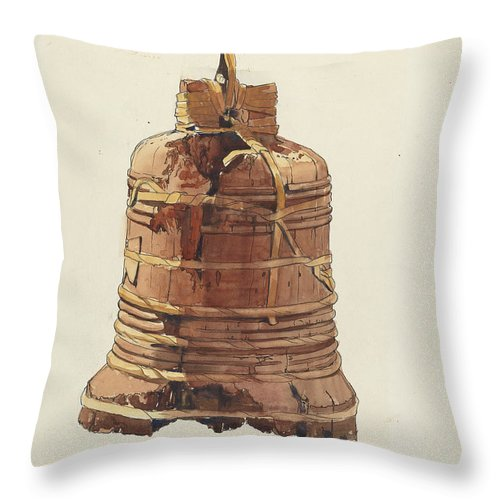 Throw Pillow featuring the drawing Wooden Bell by Dayton Brown