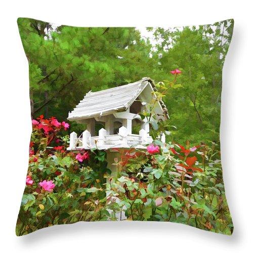 Wooden Bird House On A Pole Throw Pillow featuring the painting Wooden Bird House On A Pole 3 by Jeelan Clark