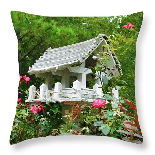 Wooden Bird House On A Pole Throw Pillow featuring the painting Wooden Bird House On A Pole 4 by Jeelan Clark