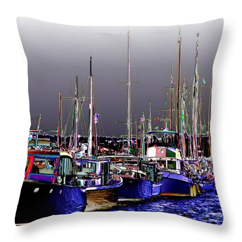 Seattle Throw Pillow featuring the digital art Wooden Boats 2 by Tim Allen