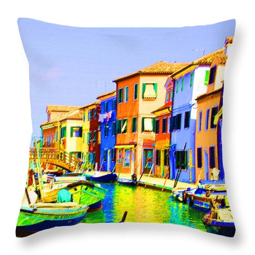 Burano Throw Pillow featuring the pastel Wooden Bridge To Despar by Donna Corless