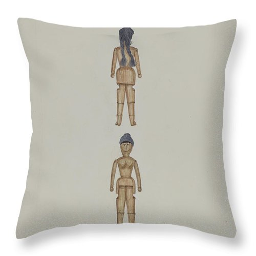 Throw Pillow featuring the drawing Wooden Doll by Evelyn Bailey