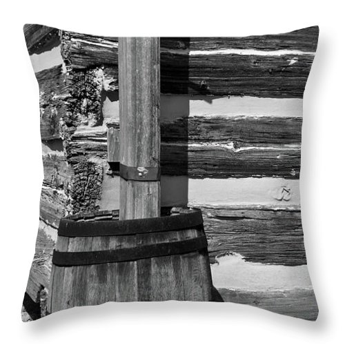 Lawrence Throw Pillow featuring the photograph Wooden Water Barrel by Douglas Barnett