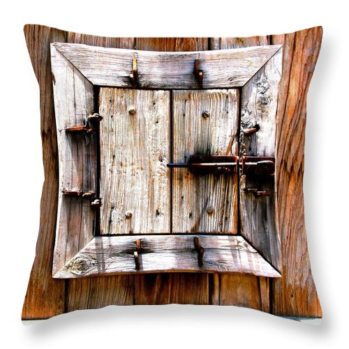 Wood Throw Pillow featuring the photograph Wooden Window by Perry Webster