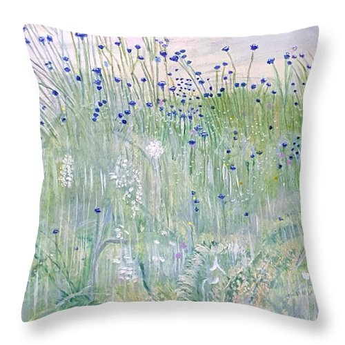 Outdoors Scenery Green Trees Grass Corn Flowers Woodford Park Woodley Painting Sky Blue Brown Country Summer Fine Art Flowers Landscapes Nature Bright Picture Blue White Throw Pillow featuring the painting Woodford Park In Woodley by Joanne Perkins