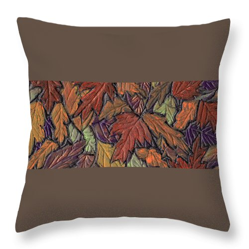 Autumn Throw Pillow featuring the painting Woodland Carpet by Wayne Potrafka