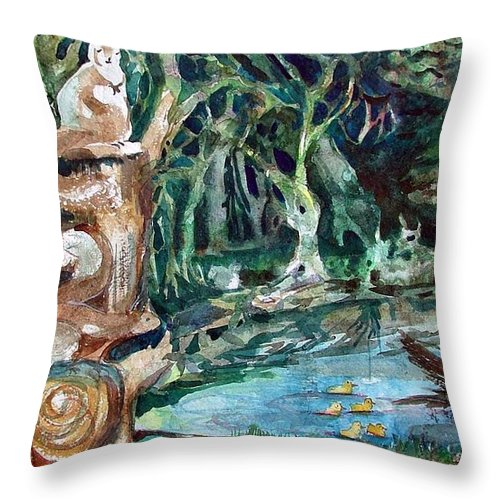 Squirrels Throw Pillow featuring the painting Woodland Critters by Mindy Newman