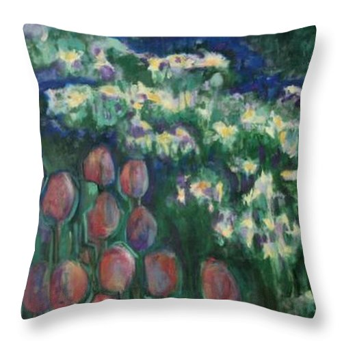 Floral Throw Pillow featuring the painting Woodland Field by Diane montana Jansson