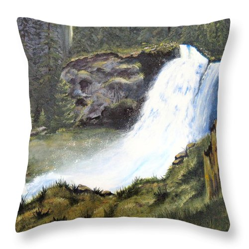 Forest Throw Pillow featuring the painting Woodland Respite by Karen Stark