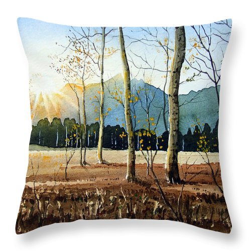 Landscape Throw Pillow featuring the painting Woodland Sunset by Paul Dene Marlor