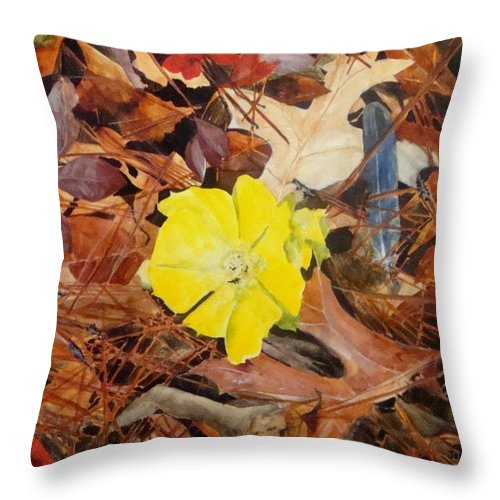 Woods Throw Pillow featuring the painting Woodland Surprise by Jean Blackmer