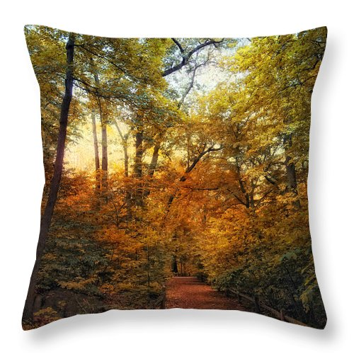 Nature Throw Pillow featuring the photograph Woodland Trail by Jessica Jenney